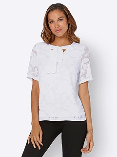 Bow V-Neckline Blouse product image (440081.WH.4.1_WithBackground)