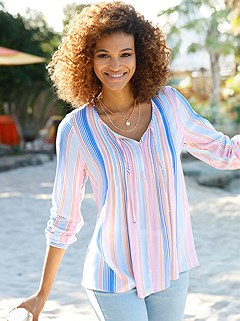 Striped Boho Blouse product image (441561.SALS.1.1P)