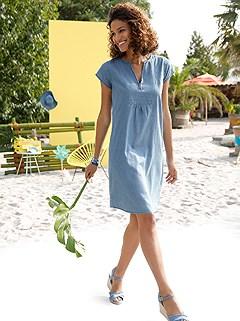 V-Neck Denim Dress product image (441665.BLUS.1.19_WithBackground)