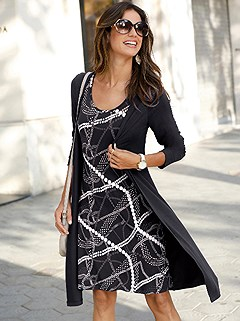 Printed Layered Look Dress product image (441831.BKPA.1.1_WithBackground)