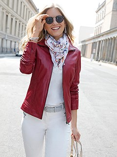 Turndown Collar Leather Jacket product image (441838.CHRY.1.1_WithBackground)