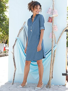 Denim V-Neck Dress product image (441923.FADE.1.7_WithBackground)
