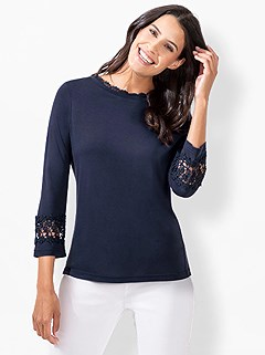 Lace Trim 3/4 Sleeve Top product image (441928.NV.3.1_WithBackground)