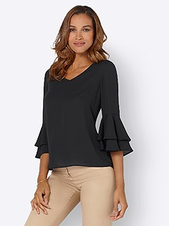 Layered Ruffle Sleeve Blouse product image (442058.BK.3.1_WithBackground)