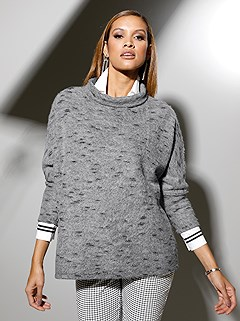 Mottled Loose Turtleneck Top product image (505181.GY.1.1_WithBackground)