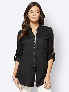 Ribbon Trim Button Up Blouse product image (505205.BK.3.1_WithBackground)