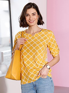 Printed 3/4 Sleeve Top product image (505442.OCCK.3.1_WithBackground)