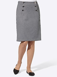Button Detail Houndstooth Skirt product image (505545.GYEC.4.1_WithBackground)