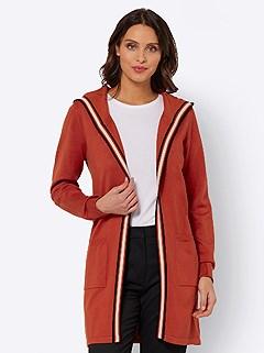 Stripe Trim Long Cardigan product image (505816.RU.3.1_WithBackground)