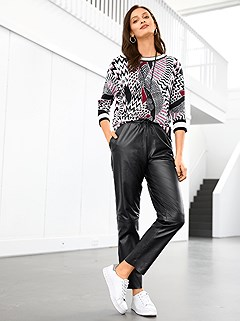 Tie Belt Faux Leather Pants product image (505930.BK.1.1_WithBackground)