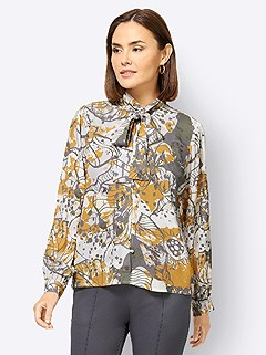 Graphic Floral Tie Neck Blouse product image (506035.ECPR.3.1_WithBackground)