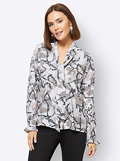 Leaf Print Tie Neck Blouse product image (506102.ECPR.3.1_WithBackground)