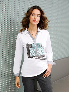 Print Collared Polo Top product image (506125.WHGY.1.1_WithBackground)