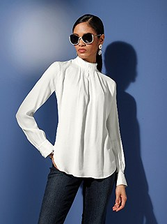 Stand Up Collar Blouse product image (506128.EC.1.1_WithBackground)
