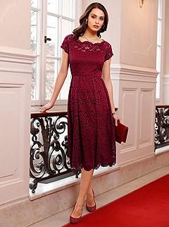 Lace Off Shoulder Dress product image (506172.DKRD.1S)