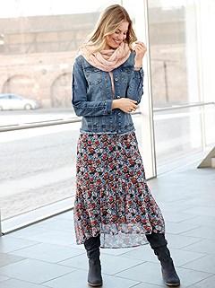 Floral Chiffon Midi Skirt product image (506178.NVBR.1.10_WithBackground)