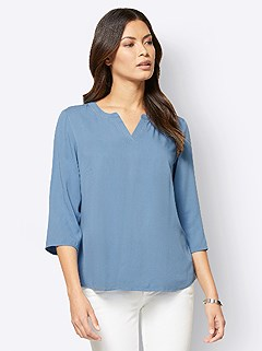Round V-Neck Blouse product image (506259.MIBL.3.1_WithBackground)
