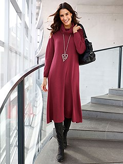 Loose Turtleneck Knit Dress product image (506316.CHRY.1M)