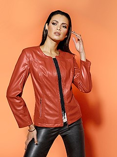 Double Quilted Faux Leather Jacket product image (506581.RU.1.1_WithBackground)