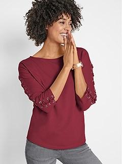 Eyelet Sleeve Sweatshirt product image (507529.DKRD.3.1_WithBackground)