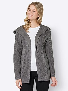 Hooded Knit Pattern Cardigan product image (507718.GY.3.1_WithBackground)