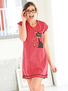 Cat Print Nightgown product image (772253.RD.1.1_WithBackground)
