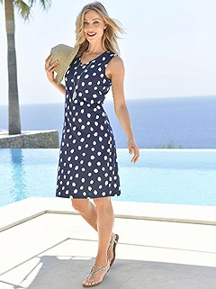Sleeveless Polka Dot Print Cover Up product image (926731.NVWH.3.1_WithBackground)