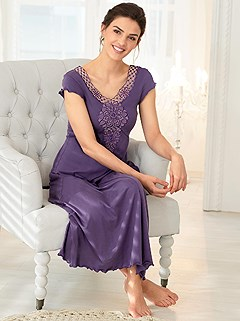 Lacy V-Neck Nightgown product image (979890.PURP.4.1_WithBackground)