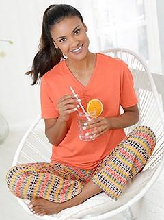 Gathered V-Neck Pajama Set product image (980210.ORMU.2.1_WithBackground)