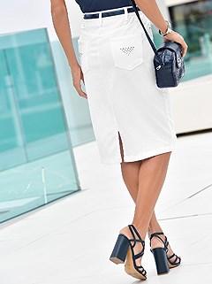 Embellished Denim Midi Skirt  product image (B52107.WH.4.3_WithBackground)
