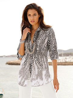 Feather Print Blouse product image (B66000.SVGP.1.HE)
