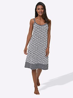 Spaghetti Strap Nightgown product image (C20504.BKWH.3.1_WithBackground)