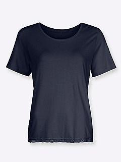 Lace Hem Short Sleeve Pajama Top product image (C20866.NV.2.1_WithBackground)