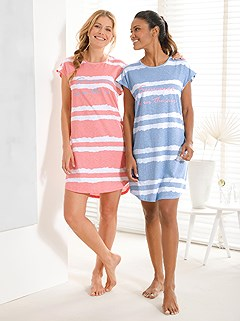2 Pk Short Sleeve Nightgowns product image (C21054.LBAP.1.1_WithBackground)