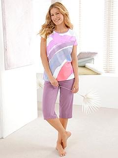 Patterned Crop Pajama Set product image (C21707.LI.1.1_WithBackground)