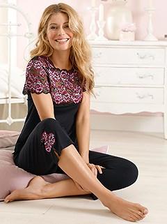 Sheer Lace And Roses Pajama Set product image (C30486.BK.1.1_WithBackground)