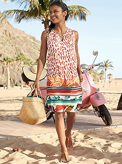 Pattern Mix Beach Dress product image (C50103.MULT.1.4_WithBackground)