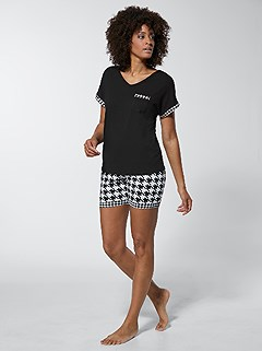 Houndstooth Pajama Set product image (C66421.BKWH.4.1_WithBackground)