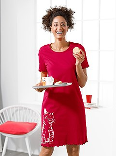 3 Pk Cat Print Nightgowns product image (C66480.BLNV.1.1_WithBackground)