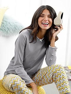 Lace Trim Pajama Top product image (D70604.STGY.1.2M)
