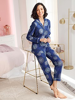 Pattern Button Down Pajama Set product image (D72547.RYMU.1.1_WithBackground)