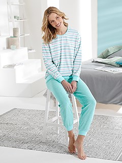 Striped Terrycloth Pajama Set product image (D73267.MTST.1.1_WithBackground)